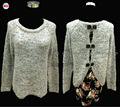 2015 modelos de moda suéter para las niñas, largo- ronda de manga cuello de encaje bowknot jersey