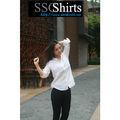 Sscshirts 2014 100% casual ropa de moda de la moda blusa blanca