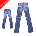 metálico del bordado diseño de bolsillo buen precio 2014 nuevo estilo de moda los pantalones vaqueros de las mujeres