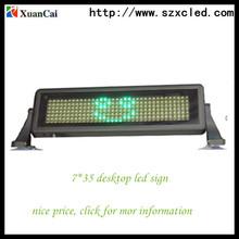 señal del mensaje 7 * 35 en color verde cambiante llevado