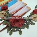 Multi- color rosa bordado de flores de encaje guipur cordón para el cuello tang traje