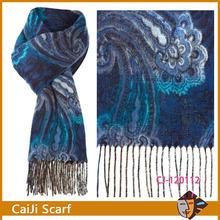 linea azul paisley cashmink amplia bufanda con borlas