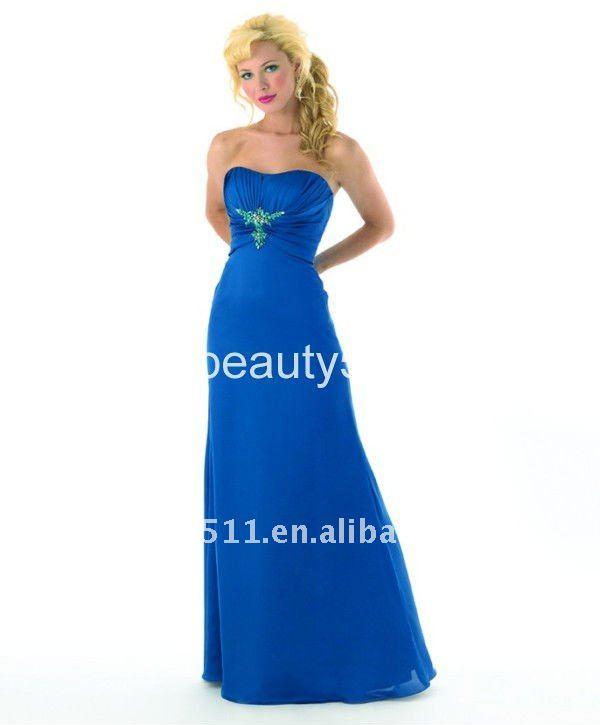 vestido vaina de gasa azul vestido de fiesta 3124ql