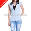 ( # tg563sh) 2014 jx3140 mulheres jeans fabricantes de manga curta camisas de brim por atacado