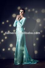 De manga larga de la madre de la novia de encaje azul vestido de noche patrón/guangzhou china alibaba proveedor vestido de noche