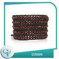 [Joyas TTT] de cuero diy pulsera de cristal roja 2014 de la moda de alta calidad