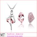 Sistemas de la joyería del oro blanco de la aleación plateó el cristal de Austria