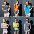 nuevo diseño de moda las niñas llanura manga raglán joker falsos camisetas sin marca de prensa de calor etiqueta