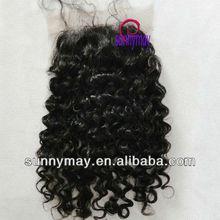 """Hermosa apretado rizado el cabello humano brasileña 4""""*4"""" cordón cierre cabello virgen"""
