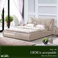 826# cuero genuino cama tapizada