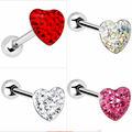 gema corazón pavimentadas con barra de acero anillo de la lengua joyería piercing