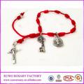 Bon marché de gros rouge 2014 noeud. bracelet chapelet avec la croix de jésus xws-1993