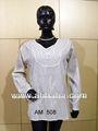 Blanco de la india kurtis bordado/kurtas mujer kurtis& caftanes de algodón kurtis desgaste de tunica falda algodan