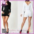 Señoras del diseño de moda pantalones cortos elegantes de manga larga mono de PP2247 jumpsuits clubwear atractivo