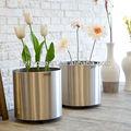 FO-9003 cilindro de acero inoxidable de macetas de flores de jardín jardineras