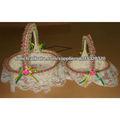 Corde corbeille à papier de mariage avec des fleurs et dentelle pour la décoration