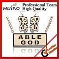 jóias folheadas de ouro na china Acrílico capaz de deus letra pingente brinco colar hy-1111