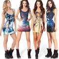 la mujer deporte mini de impresión galaxy espacio sin mangas impresos tramo bodycon chaleco g0595 vestido
