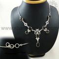 Atractivo de diseñador de joyas de plata/cuarzo ahumado piedras preciosas collar de plata/925 joyería mayorista de la india
