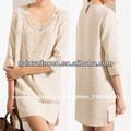 China fabrica de cuello de encaje la mitad de la manga recta de ropa casual de vestir hendidura lateral( ntf04045)