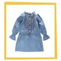 la luz azul manga larga niños otoño vestido de dril de algodón