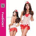 hexin ropa interior caliente venta de moda de color rosa traje de la enfermera