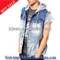 2013 de diseño de moda de largo sin mangas chaquetas de tela vaquera, pantalones vaqueros para hombre chaqueta( ldm7)