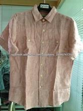 100 % lino hilados teñidos camisa raya