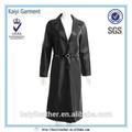 directa de la fábrica italiana de lujo negro de cuero de las señoras abrigo largo baratos