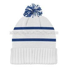 100% acrílico larga pom pom beanie, blanco y azul de raya llano sombreros de punto