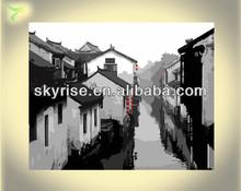 el paisaje de la ciudad vieja de pintura al óleo