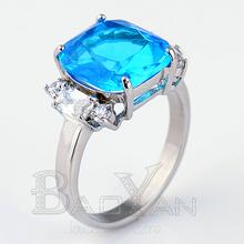 zafiro anillo compromiso de joyas de acero en estilo de mar