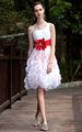 dorsqueen nave de la gota de descuento hombro una faja roja de gasa blanco precioso vestido de cóctel corto para la niña