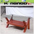 venda quente suporte de madeira mesa de vidro