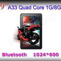 9 pulgadas mid tablet pc quad core allwinner a33 1gb/8gb agradable con la cubierta de metal