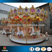 parque de atracciones de lujo 24 asientos de fibra de vidrio carrusel de caballos