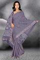 satén de algodón sari con luz azul ceniza color de sombra.