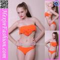 venta al por mayor sexy de color naranja borlas bikini