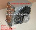 tubo de cobre con el condensador del ventilador del motor