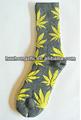 Novo par de meias crew- cinza com amarelo/weed/pote/maconha folha- estilo quente