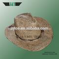 2014 nuevo diseño personalizado tejido a mano de color natural paja de la rafia sombreros de vaquero