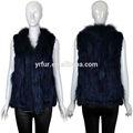 Yr-589 qualidade superior das mulheres roupas/mão malha guaxinim real& veste pele de coelho