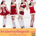 venta al por mayor de color rojo navidad vestido de mujer sexy para adultos de santa claus traje