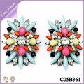 pendientes de colores de moda europeos aleación diamante de imitación pendientes grandes