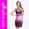 de buena calidad al por mayor de las señoras impreso vestido de galaxy