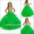 halter jf0101 verde cristales corpiño hemming niñas vestidos de concurso