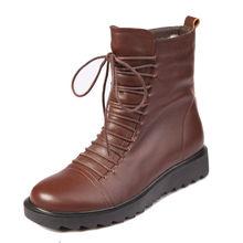 venta al por mayor de cuero genuino botas forradas de piel para mujer zapatos de tacón plano