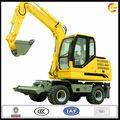 7 0.2m3 tonelada cubo, ruedas 4 impulsado, chino del motor excavadora hidráulica sobre ruedas de largo alcance para la venta