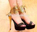plataforma de tacón alto sexy zapatos sandalias de oro pz2906