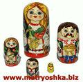 Matrioska matryoshka babushka muñeca rusa de la jerarquización de estilo familiar, hecha a mano, madre, padre, hija hijo y pollo